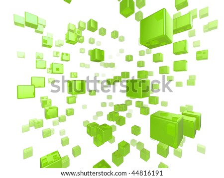 High quality illustration of a network of glossy green cubes reaching far into the distance