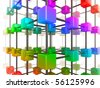 High quality illustration of a network of glossy multi colored cubes, connected by a wire frame - stock