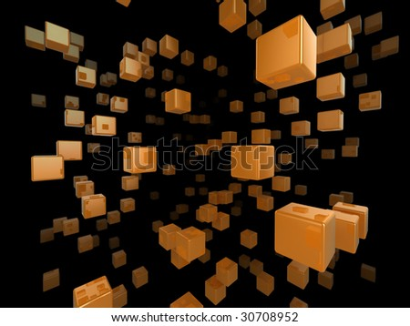 High quality illustration of a network of glossy orange cubes reaching far into the distance