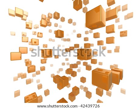 High quality illustration of a network of glossy orange cubes reaching far into the distance - stock photo