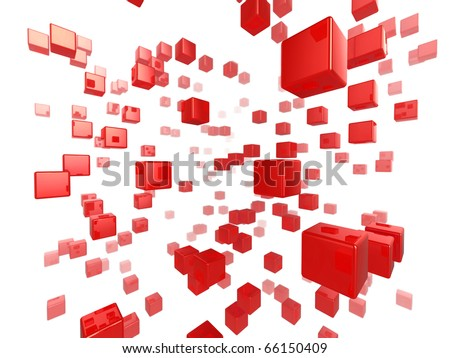 High quality illustration of a network of glossy red cubes reaching far into the distance