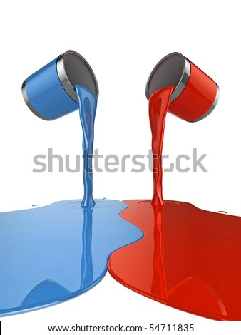 High quality illustration of a pair of paint cans pouring glossy paint onto the floor - stock photo