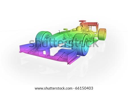 High quality illustration of a rainbow effect Formula 1 racing car - stock photo