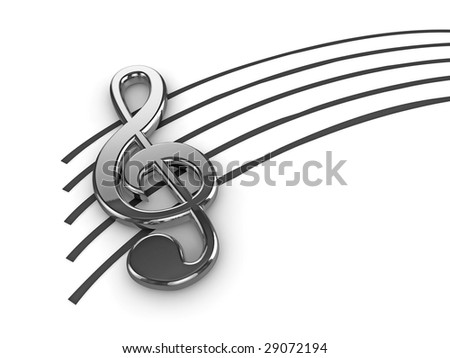 High quality illustration of a silver musical G Clef or Treble Clef symbol - stock photo