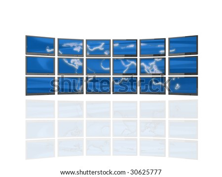 High quality illustration of a 'wall of screens' showing a three dimensional map of the world.