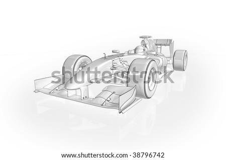 High quality illustration of an Formula 1 racing car - stock photo