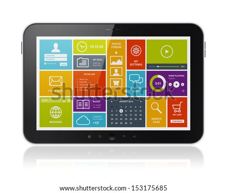 High quality illustration of digital tablet computer with stylish modern colorful user interface on a screen. Isolated on white background. - stock photo