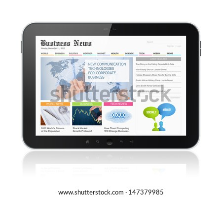 High quality illustration of modern digital tablet with business media website on a screen. Isolated on white background. - stock photo