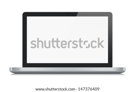 High quality illustration of modern metallic laptop with blank screen. Front view. Isolated on white background. - stock photo