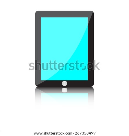 High quality illustration of modern technology device - computer tablet with blank blue screen. realistic   - stock photo