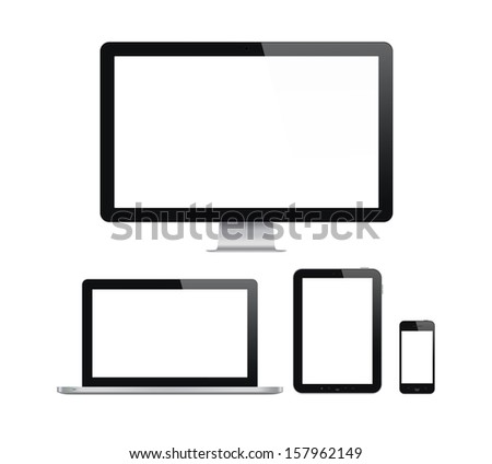High quality illustration set of modern computer monitor, laptop, digital tablet and mobile phone with blank screen. Isolated on white background.  - stock photo