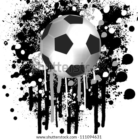 high quality isolated soccer ball and grunge background - stock photo