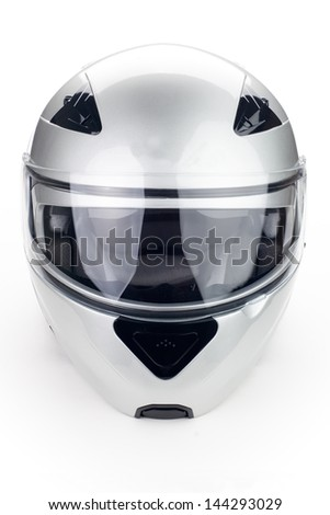 High quality light gray motorcycle helmet over white background, studio isolated.  - stock photo