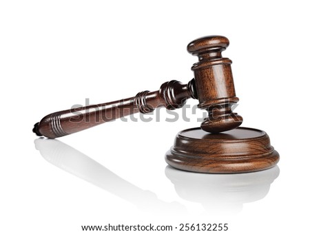 High quality mahogany wooden gavel with a sound block isolated on white with natural reflection. - stock photo