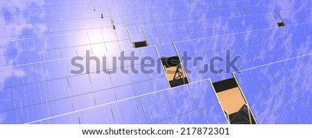 High quality panoramic 3D rendering of a photovoltaic solar panel farm reflecting the sky and sun in the desert.  - stock photo
