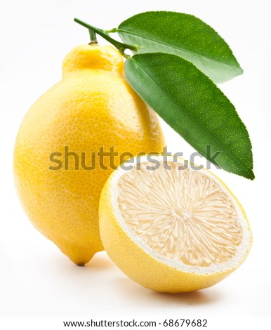 High-quality photo ripe lemons on a white background - stock photo
