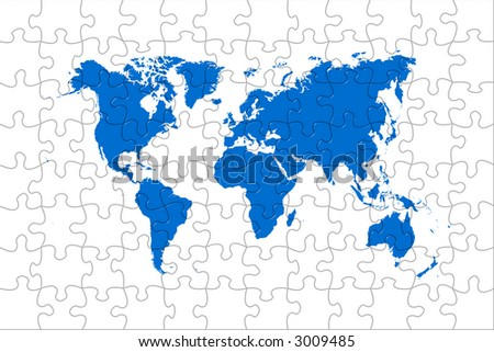 High quality puzzle world map image over a white background - stock photo