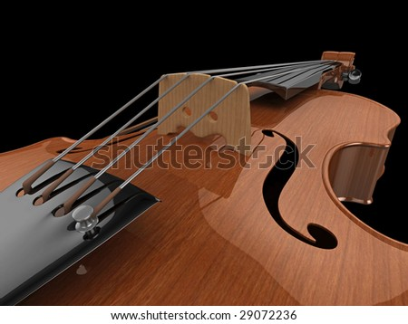 High quality, realistic close-up illustration of a polished violin - stock photo