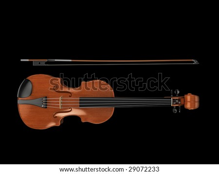 High quality, realistic illustration of a polished violin and bow, viewed from above - stock photo