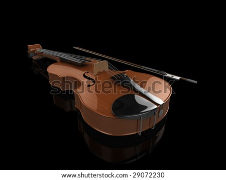 High quality, realistic illustration of a polished violin, on a slightly reflective back surface - stock photo
