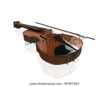 High quality, realistic illustration of a polished violin, on a slightly reflective white surface - stock photo