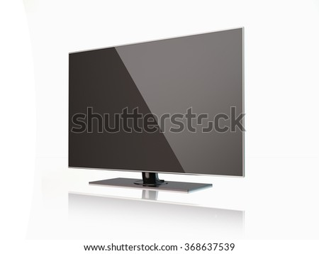 High quality render of a flatscreen LED TV , LCD full hd or 4K smart  television.  It is isolated on white background. Clipping path is included. - stock photo