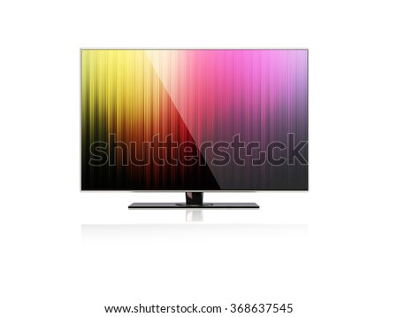 High quality render of a flatscreen LED TV , LCD full hd or 4K smart  television with colourful screensaver. It is isolated on white background. Clipping path is included. - stock photo