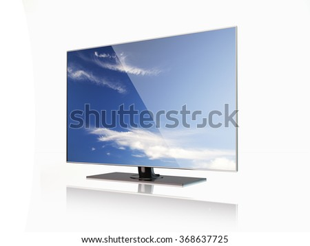 High quality render of a flatscreen LED TV , LCD full hd or 4K smart  television with sky screensaver. It is isolated on white background. Clipping path is included. - stock photo