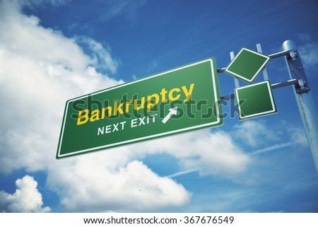 "High quality render of a highway "" Bankruptcy "" road sign  against blue sky background. Clipping path included to use in designs easily. - stock photo"