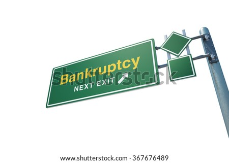 "High quality render of a highway "" Bankruptcy "" road sign isolated on white background. Clipping path included to use in designs easily. - stock photo"