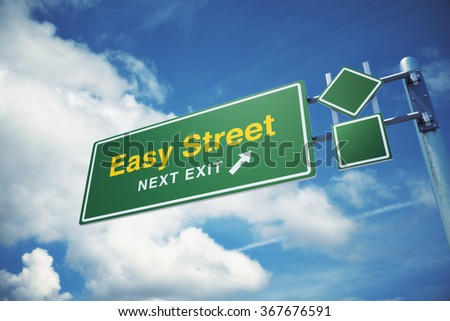 "High quality render of a highway "" Easy Street "" road sign  against blue sky background. Clipping path included to use in designs easily. - stock photo"