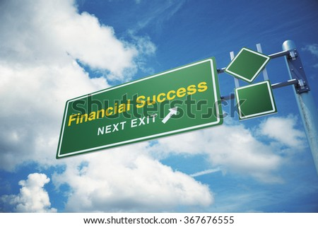 """High quality render of a highway """" Financial Success """" road sign isolated on white background. Clipping path included to use in designs easily. - stock photo"""