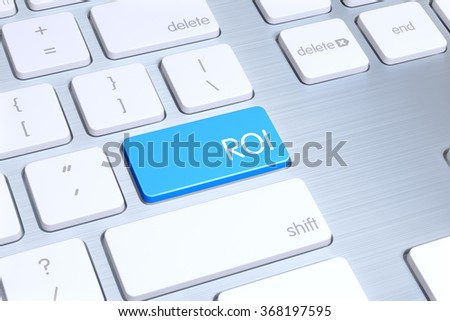 "High quality render of a modern computer's keyboard button. The button is blue in color and there is "" ROI "" text and icon on it."