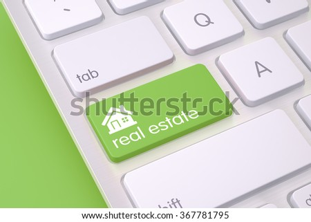 "High quality render of a modern computer's keyboard button. The button is green  in color and there is ""  real estate "" text and icon  on it. Keyboard is sitting on a green background."