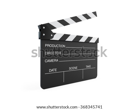 High quality render of a movie clapper board. It is isolated on white. Clipping path is included. - stock photo