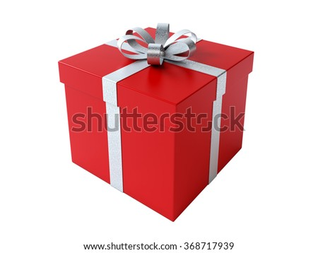 High quality render of a red gift box tied with a silver satin ribbon. There is a silver bow tie on it. Isolated on white background. Clipping path is included. - stock photo