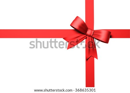 High quality render of a red ribbon with a bow tie. It is isolated on white background. The ribbon has a nice texture. Clipping path included.