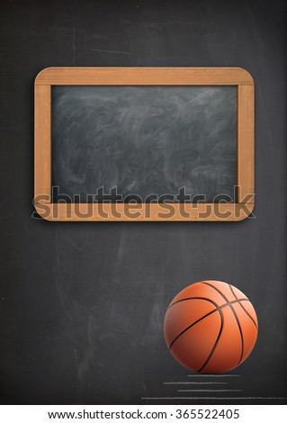 High quality render of 3D basket ball against a dirty blackboard with another small blackboard on it. - stock photo