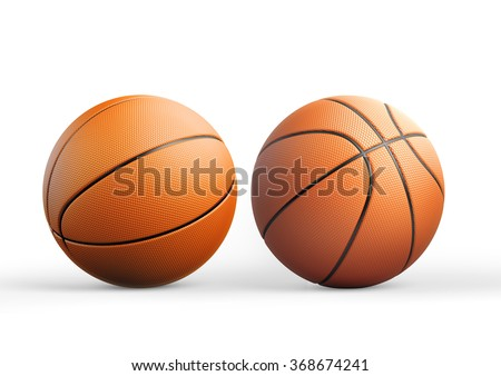 High quality render of 3D basket ball from different angles . It is isolated on white background. Clipping path is included. - stock photo