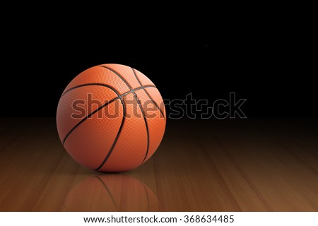 High quality render of 3D basket ball on a reflective court It is lit by a spot light.  - stock photo