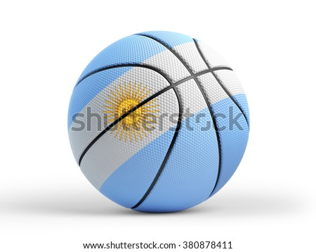 High quality render of 3D basket ball with Argentinian flag on white and drop shadow.  - stock photo