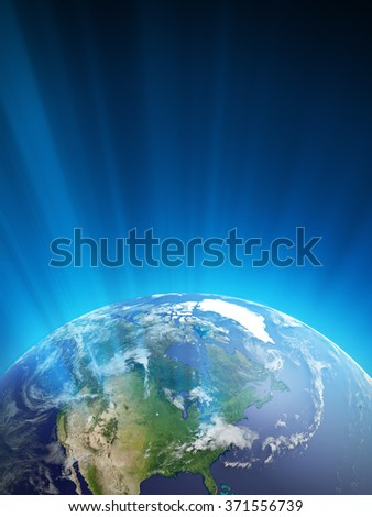 High quality render of Planet Earth with light streaks. The North America is in focus. Transparent water, shaded relief, natural colors, cloud coverage. World map courtesy of NASA.. - stock photo