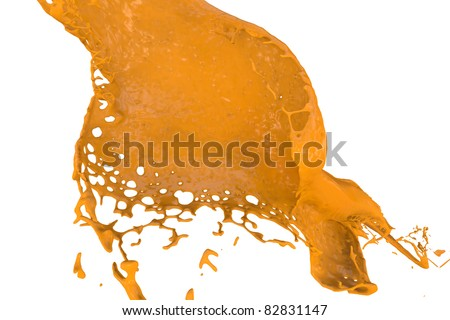 high quality rendering of fast splashing color in orange