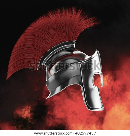 high quality spartan helmet, Greek roman warrior Gladiator, legionnaire heroic soldier, sports fan, 3d render isolated fire and sparks - stock photo