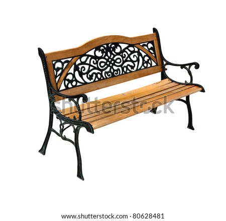 High quality stylish park wooden and cast-iron bench isolated over a white background - stock photo