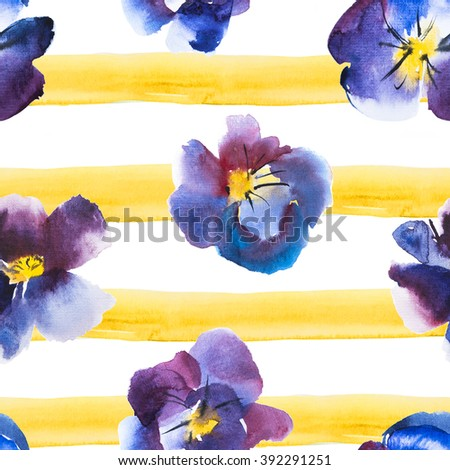 High Quality Watercolor Seamless Pattern Violet and Blue Flower of Pansy on a yellow striped background, Hand drawn design. - stock photo