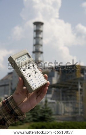 High radiation level near sarcophagus of Chernobyl nuclear station, Ukraine - stock photo