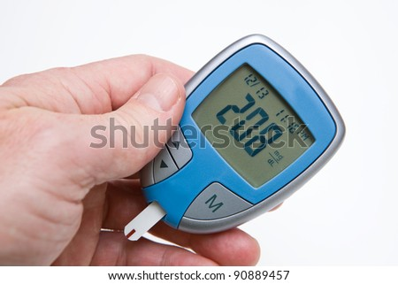 High Reading on Glucometer - stock photo