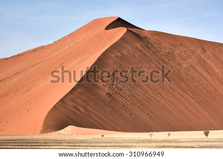High red dunes, located in the Namib Desert, in the Namib-Naukluft National Park of Namibia. - stock photo