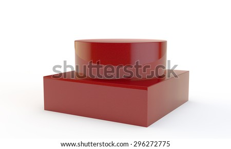 high red pedestal with two levels different in a form - stock photo